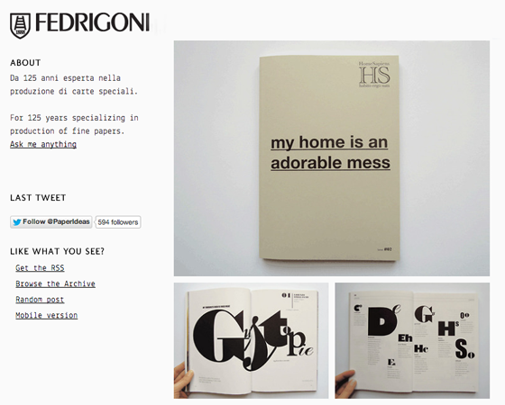 HomeSapiens on Fedrigoni website